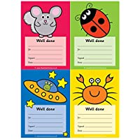 Multi-image A6 praise pad - Well done. 64 notes per pad, 4 different images - Chinchilla, Ladybird, Alien, Crab.