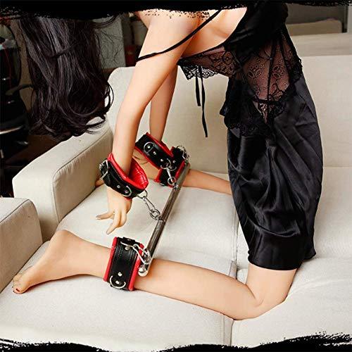 YANXS Handschellen Fußfesseln Stahlrohr Halterung Sex Bondage Set Weicher Schwamm Sex Bett Fesselset Einstellbar SM Sexspielzeug für Paare