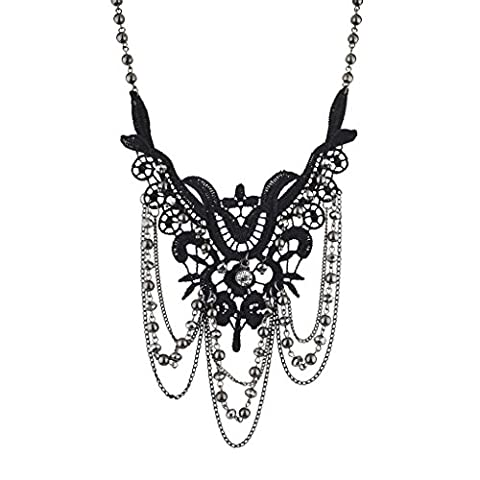 LUX Zubehör Schwarz und Hämatit dunkel Spitze und Fall Perlen Statement Halskette