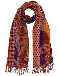 Lorenzo Cana Italian Scarf Pashmina 100% pure Wool 71'' x 28'' Paisley Orange Purple Brown 7819511