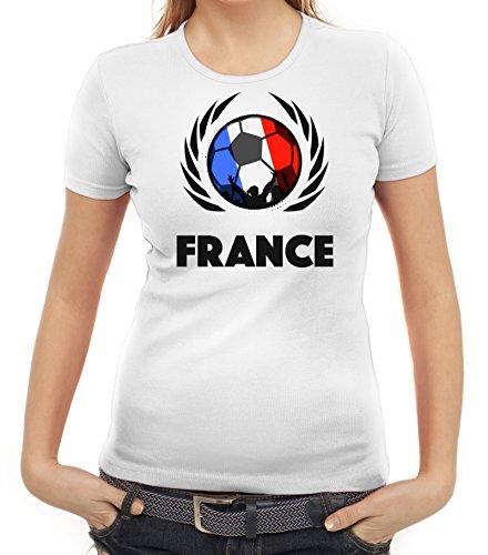 ShirtStreet France Wappen Soccer Fussball WM Fanfest Gruppen Fan Wappen Damen T-Shirt Fußball Frankreich Weiß