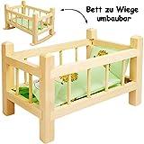 alles-meine.de GmbH 2 in 1: Puppenbett & Puppenwiege - aus Holz - UMBAUBAR - mit Bettzeug -  Jungen...