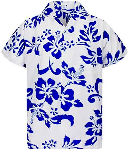 V.H.O. Funky Hawaiihemd, Kurzarm, Hibiskus, Indigoblau auf Weiß New, XXL (Langarm-shirt Florale Männer)