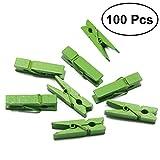 OUNONA Mini Holz Klammern Deko Wäscheklammern Foto Clips zum Basteln DIY Handwerks 100 Stück (Grün)
