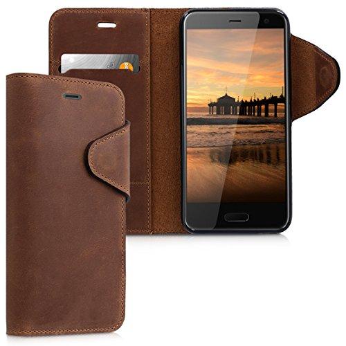 kalibri-Hlle-fr-HTC-U11-Life-Echtleder-Wallet-Case-Schutzhlle-mit-Fach-und-Stnder-in-Braun