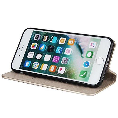 CaseforYou Hülle iPhone 7 Deckung Gehäuse Litchi Grain Pattern PC + PU Leather Protective Deckel Case Magnetic Closure Flip Stand Cover mit Card Slot Schutz für iPhone 7 (Burgundy) Grau