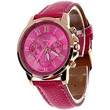Amsion Marea números romanos de cuero de imitación de cuarzo analógico reloj de las mujeres (rosa caliente)