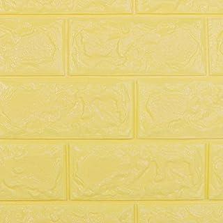 3D Stereo-PE-Hintergrund, SUNKAX DIY klebrige Wandaufkleber,Wand-Paneele,Wandaufkleber Ziegelstein Aufkleber,für Schlafzimmer Wohnzimmer moderne tv schlafzimmer wohnzimmer dekor,10Stück (10PCS, Gelb)