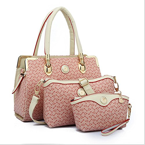 BYD - Donna Female Borse a mano Set 3 in 1 Set Colore puro High Quality PU Leather Anchor Picture Mutil Function with 1 Purse and 1 Wallet Elegant Fashion School Bag Work Office Bag Rosa