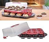 Markenlos 12er Muffinbackform mit Transportbox für 24 Muffins