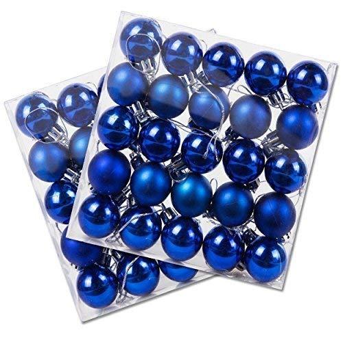Confezione da 50 miniatura brillante & opaco albero di natale bagattelle in vari colori - blu