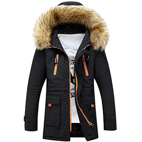 Cappotto uomo inverno, beautytop autunno caldo manica lunga sottile da uomo cappotto con cappuccio invernale giacca outwear top (s, nero#1)