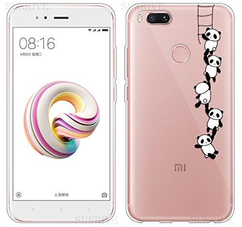 Funda Para Xiaomi Mi A1, Sunrive Silicona Funda Slim Fit Gel Transparente Carcasa Case Bumper de Impactos y Anti-Arañazos Espalda Cover(tpu Panda 1) + 1 x Lápiz óptico