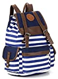 Greeniris Ladies Causal Schoolbag Stripe Backpack for Girls Blue