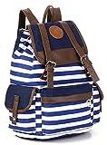 Greeniris Ladies Causal Schoolbag Stripe Backpack for Girls Blue