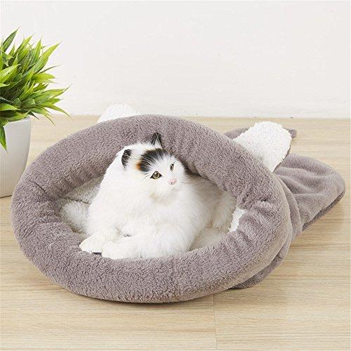 Katzenbett, CAMAL Weiche Waschbare Haustier-Schlafsäcke für Katze und Hund (Groß, Grau)