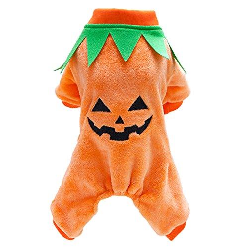 Halloween-Kostüm für Hunde, robuste Fleece-Kürbis Outfit Hund Katze Halloween (Große Halloween Kostüme Extra)