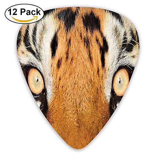 Nahaufnahme Tiger Eyes Hunter Look Katzenartige Tarnung Fell Tier mit schattigen Farben Plektren 12 Pack Für E-Gitarre, Akustikgitarre, Mandoline und Bass Fell Hunter