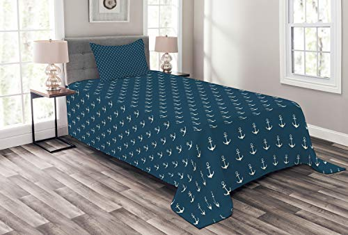 ABAKUHAUS Anker Tagesdecke Set, Nautical Simple Classic, Set mit Kissenbezug Sommerdecke, für Einselbetten 170 x 220 cm, Blau-weiß