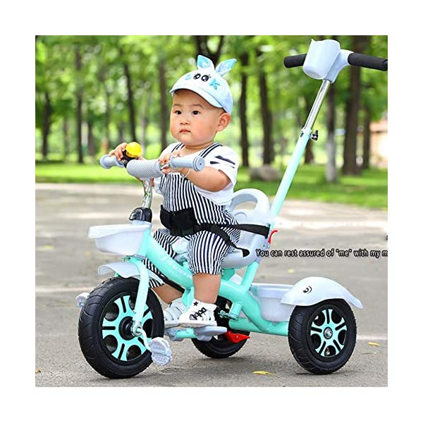GSDZSY - Children Kids Tricycle Push And Ride Dual Use, With Detachable Push Rod And Rubber Wheel, Safe And Durable, 18 Months - 5 Years Old GSDZSY ❀ Material: High-carbon steel +ABS+ Rubber wheel ,Suitable for 18 Months to 5 years old Child, Maximum Load 30 kg ❀ The Push Rod can be adjusted Height, Pusher can control direction, Suitable for mothers of different heights ❀ Sturdy frame and light weight, the handlebar has a protective sponge cover to protect the child's forehead 3