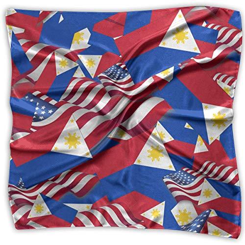xiadayu Philippines Flag with America Flag Silky Square Scarf Kerchief Neck Scarf Headdress - Philippinen Mantel