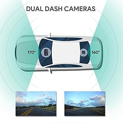 AUKEY-1080p-Doppel-Dashcam-mit-27-Zoll-Display-Front-und-Rckfahrkamera-mit-Full-HD-6-Fahrspuren-170-Weitwinkelobjektiv-Beschleunigungssensor-und-Autoladegert-mit-2-Anschlssen
