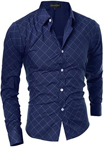 jeansian Herren Freizeit Hemden Shirt Tops Mode Langarmshirts Slim Fit 8789 Navy
