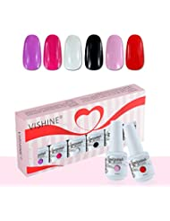 Vishine Vernis à Ongles Gel Soak Off Semi Permanente Gelpolish Lot 6 x 8ml Cadeau Kit C052