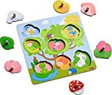 HABA 302528 - Greifpuzzle Tierversteck | Holzspielzeug ab 12 Monaten | 7-teiliges Puzzle aus Holz mit buntem Gartenmotiv | Mit großen Knöpfen zum Greifen