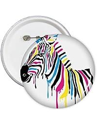 Diythinker Cool Zebra Lunettes de soleil Animal Illustration Pattern rond badge à épingle Bouton 5pcs M Dv5HmxW