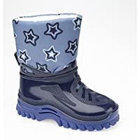 StormWells Boys Warmlined Wellington Boots (23 EU) (Navy Blue/Stars)