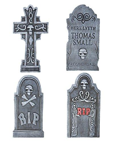 4-teiliges Halloween Gedenkstein Set als Friedhof Dekoration