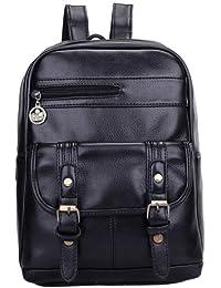F9Q Femmes Vintage Shoulder Bag Casual PU en cuir couleur unie étudiants Backpack