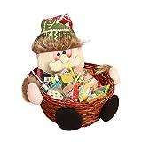 About1988 Candy Korb, Weihnachten süßigkeits Ablagekorb Dekoration Bambus Korb,Alter Mann/Schneemann/Elch Candy Basket Speicherkorb,Geschenkkorb, Weihnachtsdekoration (FarbeA)
