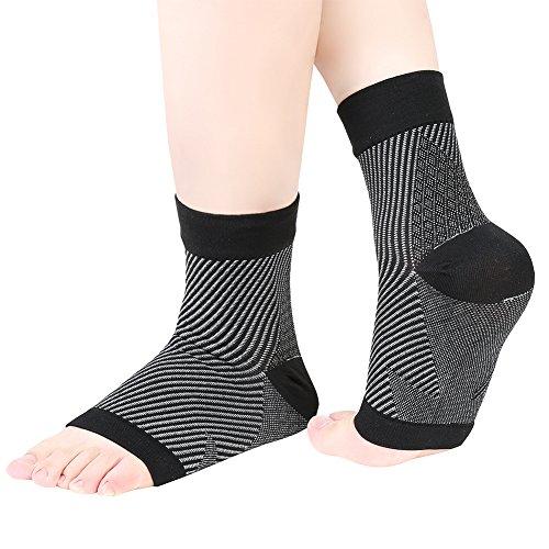 Vbiger 2 Paar Herren & Damen Plantarfasziitis Kompressionsmanschette Fußgelenk Bandage für Fördert Durchblutung,Verringerung Von Fersensporn,Schmerzenoder Schwellungen in Fuß