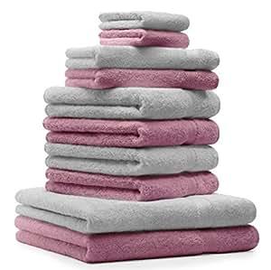 10 tlg. Badetuch Duschtuch Handtücher Set Premium Farbe Silber Grau & Altrosa 100% Baumwolle 2 Duschtücher 4 Handtücher 2 Gästetücher 2 Waschhandschuhe