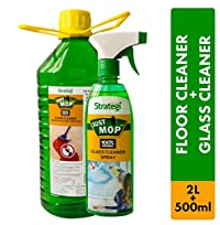 Herbal Strategi Floor Cleaner and Disinfectent 2 Litres, Glass Cleaner Spray 500ml (Pack of 2)