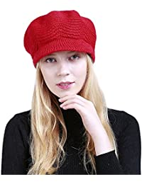 FALAIDUO Women s Hats Solid Color Plus Velvet Warm Ladies Knit Hat Fashion British  Retro Ladies Beret f46c26543a