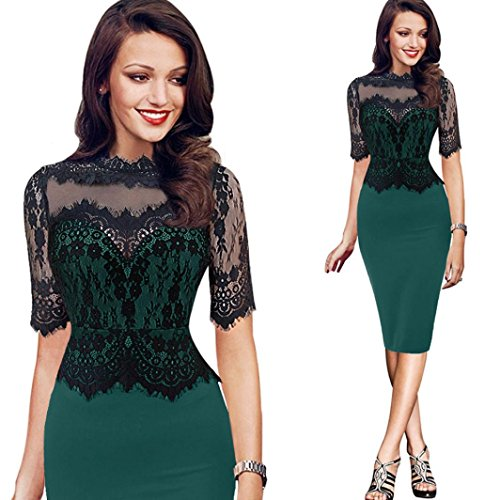 Cocktailkleid,DOLDOA Frauen O-Ausschnitt Spitze Spleißen Kurzarm Knielang Kleid Bleistiftkleid (EU:40, Grün,O-Ausschnitt Spitze Spleißen Bleistiftkleid) (Rock Flirt Set)