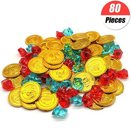 YuChiSX 80 Stücke Kunststoff Pirat Gold Münzen,Goldmünzen Piratenschatz Piraten Schatz für Spielen Gefallen Party Piraten Party,Mitgebsel Kindergeburtstag Party Bag Füllstoffe