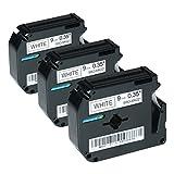 Logic-Seek 3 Schriftbänder kompatibel für Brother MK-221, P-Touch 55 60 65 75 80 85 90 110 BB4 9mm/8m - Schwarz auf Weiß (Thermofarbband)