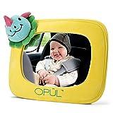 Miroir de Voiture pour Bébé, Rétroviseur de Voiture Ajustable pour Bébé, Cadre Jaune en Peluche, Convient à tout Type de Véhicule - Miroir de Vision par Opul