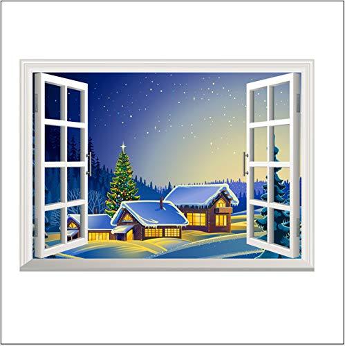 Effekt Gefälschte Fenster Landschaft 3D Wohnzimmer Schlafzimmer Sofa Tv Hintergrund Wanddekoration Aufkleber Wasserdicht Weihnachten Schnee-Szene