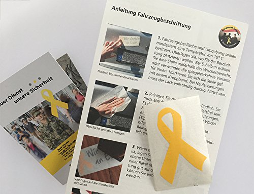 1x Gelbe Schleife Aufkleber (Solidarität mit Soldaten - Größe S: 3,5 x 5,5 cm)