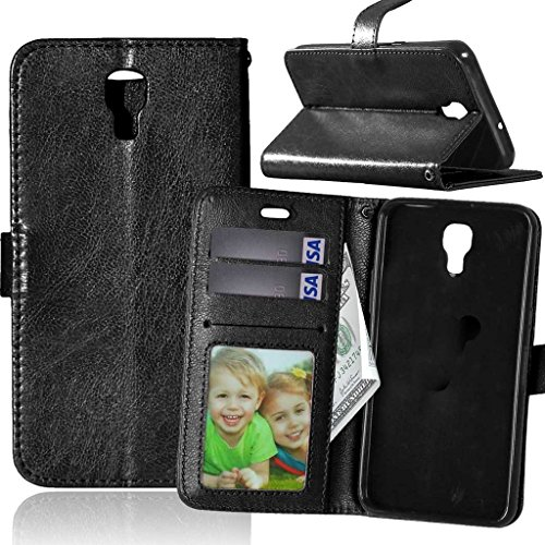 Fubaoda LG X Screen Hülle, [Kostenlos Syncwire Ladekabel] Flip Leder Money Karte Slot Brieftasche, Klassiker, Ständer, Handyhülle Ledertasche Phone Tasche Hülle für LG X Screen (K500N) (schwarz)