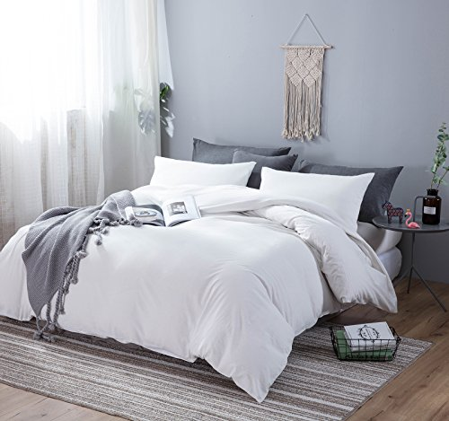 Sleepbella Bettbezug Set, 3 teilig Baumwolle Gewaschen Tröster Bettbezug mit Deco Tasten Queen White/Zip Style (White Queen-bettbezug)