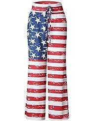 Frauen lose beiläufige Hosen Sommer Weinlese amerikanische Fahne druckte Unterseiten keucht rotes S