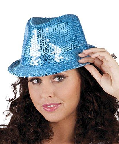 Faschingsfete Karnevalsaccessoire - Hut mit Pailletten, Popstar, Türkis