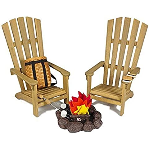 18 Inch Camping Furniture and Accessories for American Girl, Great Outdoors Wilderness Adventure Play Set. 2 Adirondack Chairs, 2 S'mores, 2 Marshmallow Sticks and Fire Pit by The Queen's Treasures
