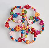 8 x Colourful Wooden Girls Bracelets - Ideal as Goody Loot Party Bag Filler Jewellery